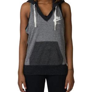 Nike Large Sleeveless Gray Color Block Hoodie Tank